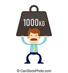 Businessman Lifting a Heavy Burden - Vector stock of a...