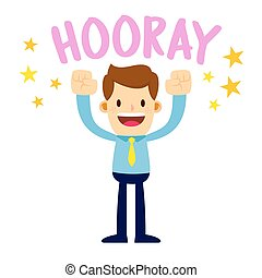 Businessman Lifting His Arms Up And Shout Hooray - Vector...