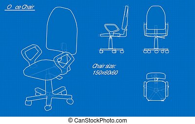 White chair blueprint. Blue background with grid. Vector
