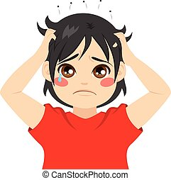 Boy Head Lice - Little boy kid crying itchy hair with head...