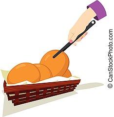 Picking Bread - Female hand picking bun bread with kitchen...