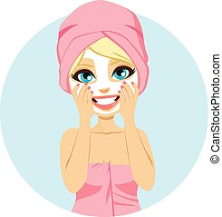 Woman Facial Mask - Beautiful young blonde woman with facial...