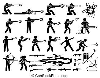 Man attacks with various modern weapons - These modern...