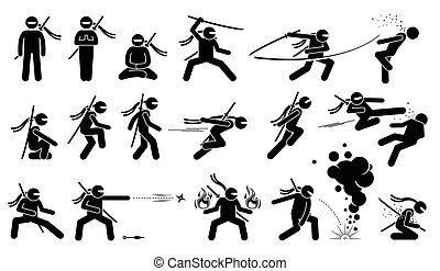 Ninja assassin movement and fighting skills with Japanese...