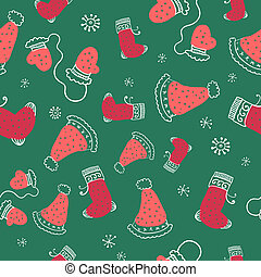 Seamless pattern with christmas socks, mittens and hats.  illustration.