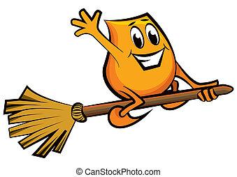 Cartoon character - flying on the broom - Cartoon character...