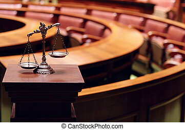 Decorative Scales of Justice in the Courtroom - Symbol of...
