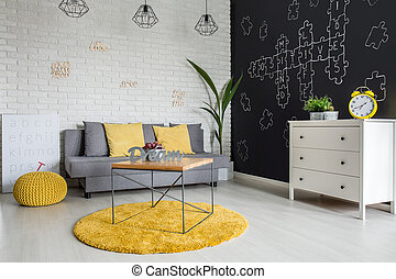 Room with sofa and dresser - Room with sofa, dresser,...