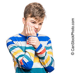 Emotional portrait of teen boy - Casual guy have toothache,...