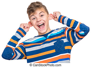 Emotional portrait of teen boy - Silly boy making grimace -...