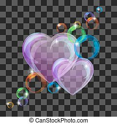 Shiny bubble heart - Heart-shaped transparent clean...