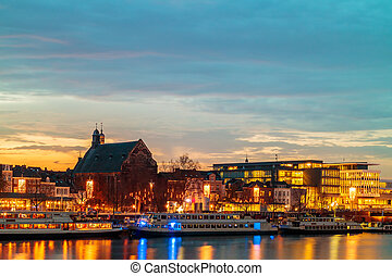 Evening view of the Dutch Maastricht city center with the...