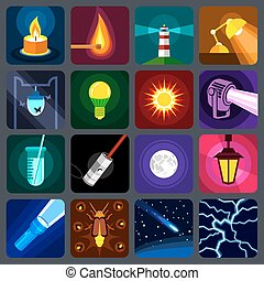 Light source icons set, flat style - light source icons set....