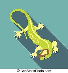 Green lizard icon, flat style - Green lizard icon. Flat...