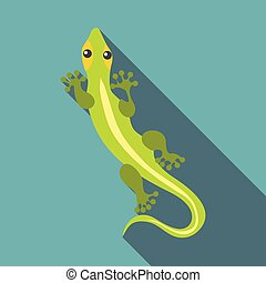 Little clever lizard icon, flat style - Little clever lizard...