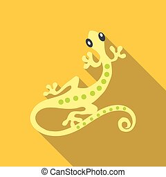Small gecko icon, flat style - Small gecko icon. Flat...
