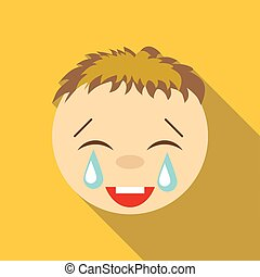 Laughter to tears icon, flat style - Laughter to tears icon....
