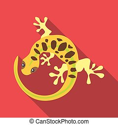 Spotted lizard icon, flat style - Spotted lizard icon. Flat...