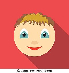 Smile icon, flat style - Smile icon. Flat illustration of...