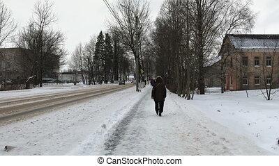 Walk down the street in winter
