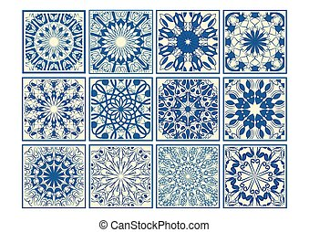 Set of vintage ceramic tiles in azulejo design with blue patterns on beige background, traditional Spain and Portugal pottery