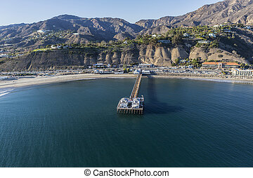 Aerial of Malibu Pier State Park and the Santa Monica Mountains