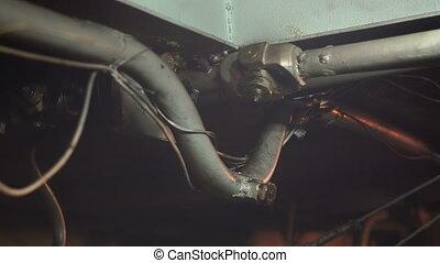 Ship propeller shaft close up hd