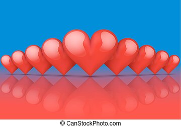 Realistic Red Romantic Hearts Background. Hot and Cold...