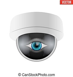CCTV security camera with human eye. Technologies for...