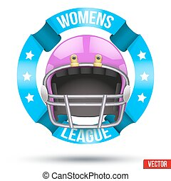 American Football Label of Womens League. Helmet with...