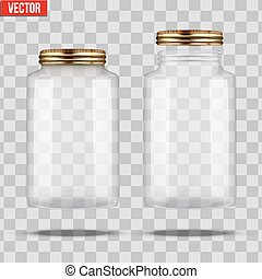 Set of Glass Jars for canning and preserving. Square shape...
