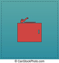 sink computer symbol - sink Red vector icon with black...