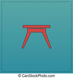 Camping table computer symbol - Camping table Red vector...