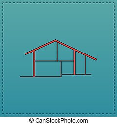 cottage computer symbol - cottage Red vector icon with black...