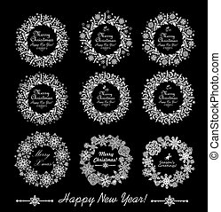 Collection of decorative paper wreath isolated on black background