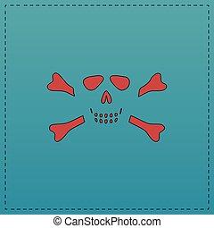 Skull crossbones computer symbol - Skull crossbones Red...