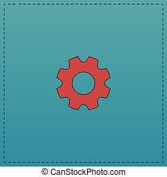 gearwheel computer symbol - gearwheel Red vector icon with...