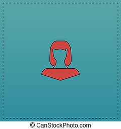 Girl head computer symbol - Girl head Red vector icon with...