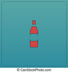 Bottle computer symbol - Bottle Red vector icon with black...
