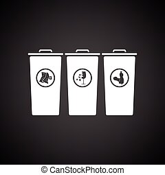 Garbage containers with separated trash icon. Black...