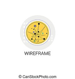 Wireframe Design Geometric Line Figure Icon Vector...