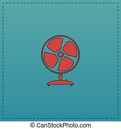Fan computer symbol - Fan Red vector icon with black contour...