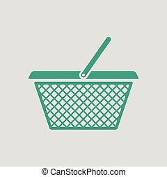 Shopping basket icon. Gray background with green. Vector...
