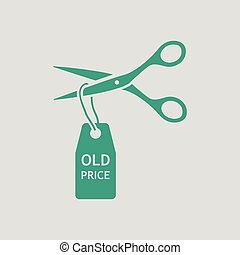 Scissors cut old price tag icon. Gray background with green....