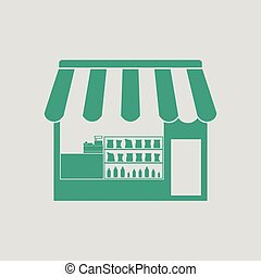 Tent shop icon. Gray background with green. Vector...