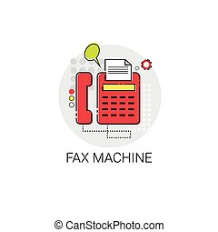 Fax Machine Work Office Technology Device Icon Vector...