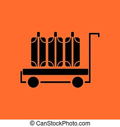 Luggage cart icon. Orange background with black. Vector...