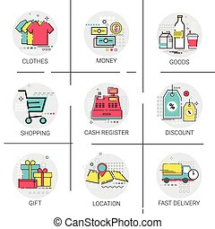 Online Shopping Delivery Set Discount Sale Money Payment Collection Icon
