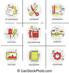 Cabinet Workplace Desk Workspace Office Equipment Icon Set...