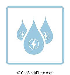 Hydro energy drops icon. Blue frame design. Vector...